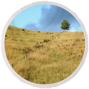 Round Beach Towel featuring the photograph The Lines The Tree And The Hill by Yoel Koskas