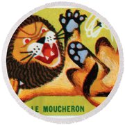 The Lion And The Gnat French Matchbox Label Round Beach Towel