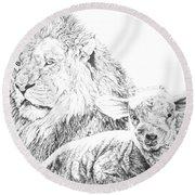 The Lion And The Lamb Round Beach Towel by Bryan Bustard
