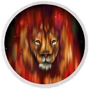 The Lion, The Bull And The Hunter Round Beach Towel