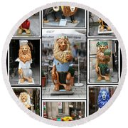 The Lions Of Munich Round Beach Towel