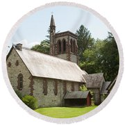 The Little Brown Church In The Vale Round Beach Towel