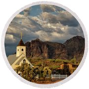 The Little Chapel In The Superstitions  Round Beach Towel