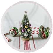 Round Beach Towel featuring the photograph The Little Christmas Tree by Kim Hojnacki
