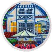 The Little Festive Danish House Round Beach Towel