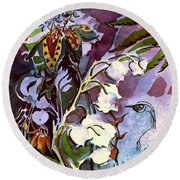 Round Beach Towel featuring the painting The Little Gardener by Mindy Newman