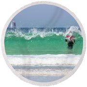 Round Beach Towel featuring the photograph The Little Mermaid by Terri Waters
