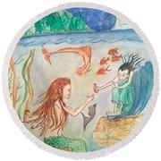 The Little Mermaid Round Beach Towel