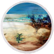 Round Beach Towel featuring the painting The Little Pine Tree by Winsome Gunning