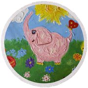 Little Pink Elephant Round Beach Towel by Rita Fetisov