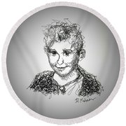 Round Beach Towel featuring the drawing The Little Rapper by Denise Fulmer