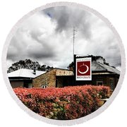 The Little Red Grape Winery   Round Beach Towel by Douglas Barnard