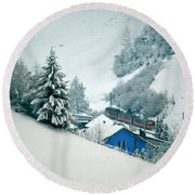 Round Beach Towel featuring the photograph The Little Red Train - Winter In Switzerland  by Susanne Van Hulst
