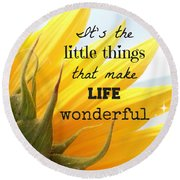 The Little Things Round Beach Towel