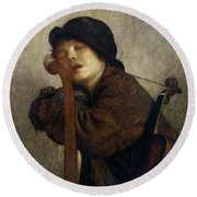 The Little Violinist Sleeping Round Beach Towel by Antoine Auguste Ernest Hebert