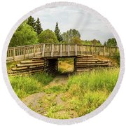 The Little Wooden Bridge Round Beach Towel