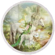 The Littlest Unicorn Round Beach Towel