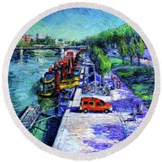The Lively Banks Of Lyon - Modern Impressionist Palette Knife Oil Painting On Canvas Round Beach Towel