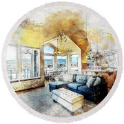 The Living Room Round Beach Towel