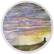 Round Beach Towel featuring the digital art The Living Sky by Darren Cannell