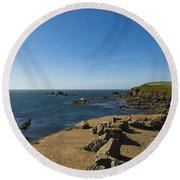 Round Beach Towel featuring the photograph The Lizard Point by Brian Roscorla