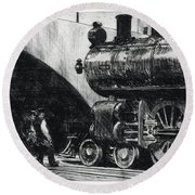 The Locomotive Round Beach Towel