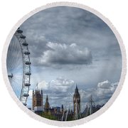 The London Eye And Skyline Round Beach Towel