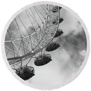 The London Eye, London, England Round Beach Towel
