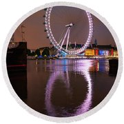 The London Eye Round Beach Towel by Nichola Denny