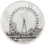 The London Eye Round Beach Towel by Vincent Alexander Booth