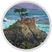 The Lone Cypress Round Beach Towel