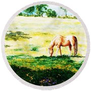 The Lone Horse Round Beach Towel