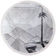 Round Beach Towel featuring the drawing The Lone Pine by J R Seymour