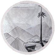 The Lone Pine Round Beach Towel by J R Seymour