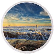 The Lone Surfer Round Beach Towel