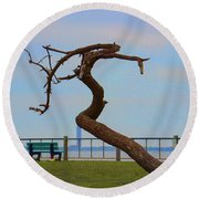 The Lone Tree Round Beach Towel by Roberta Byram