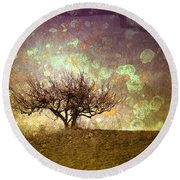 The Lone Tree Round Beach Towel