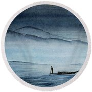 The Lonely Boat Man Round Beach Towel