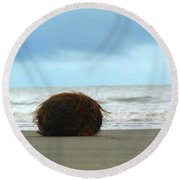 The Lonely Coconut Round Beach Towel