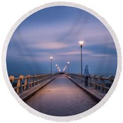The Lonely Girl Round Beach Towel