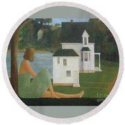 Round Beach Towel featuring the painting The Lonely Side Of The Lake by Glenn Quist