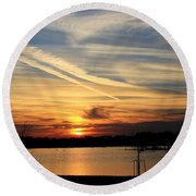 The Lonely Sunset Round Beach Towel