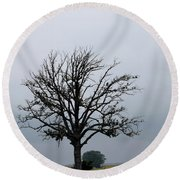 The Lonely Tree Round Beach Towel