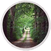 The Long Driveway Round Beach Towel by Karen Stahlros