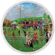 The Long Island Fair At Old Bethpage Restoration Round Beach Towel