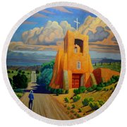 The Long Road To Santa Fe Round Beach Towel by Art West