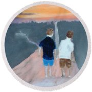 The Long Walk Home Round Beach Towel by Rod Jellison