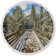 Round Beach Towel featuring the photograph The Long Walkway by Bill Howard