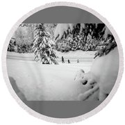 Round Beach Towel featuring the photograph The Long Walk- by JD Mims