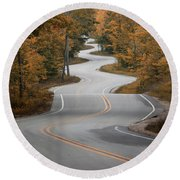 The Long Winding Road Round Beach Towel